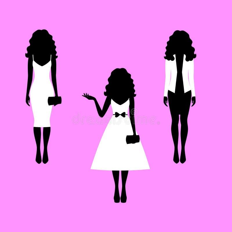 Mulher com as silhuetas longas do modelo do cabelo ilustração do vetor