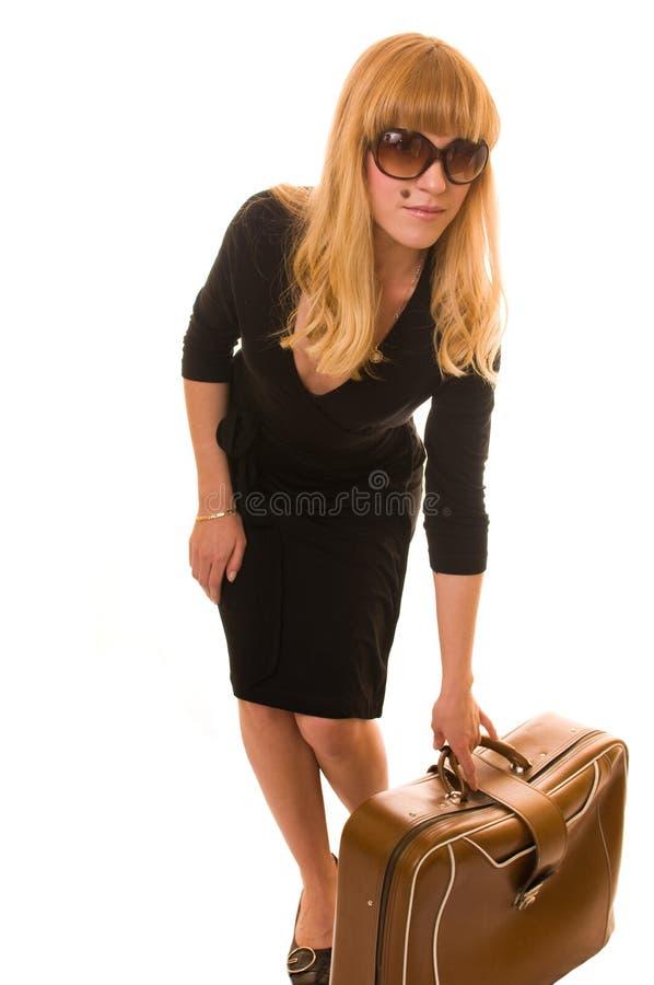 Mulher com bagagem foto de stock