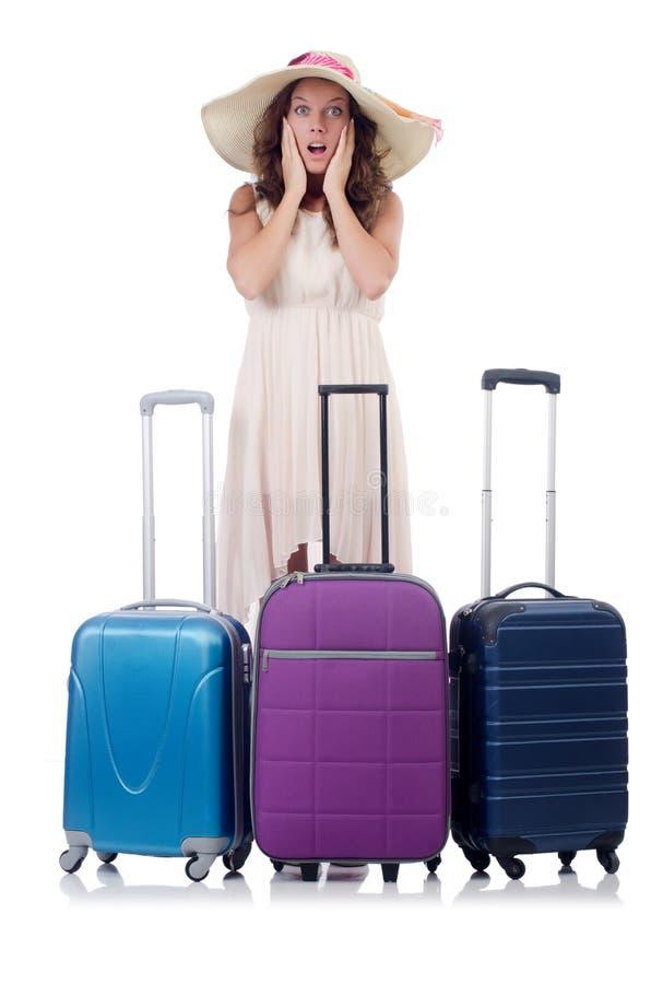 Mulher com a bagagem isolada fotos de stock