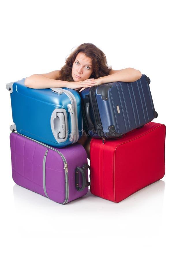 Mulher com a bagagem isolada imagens de stock royalty free