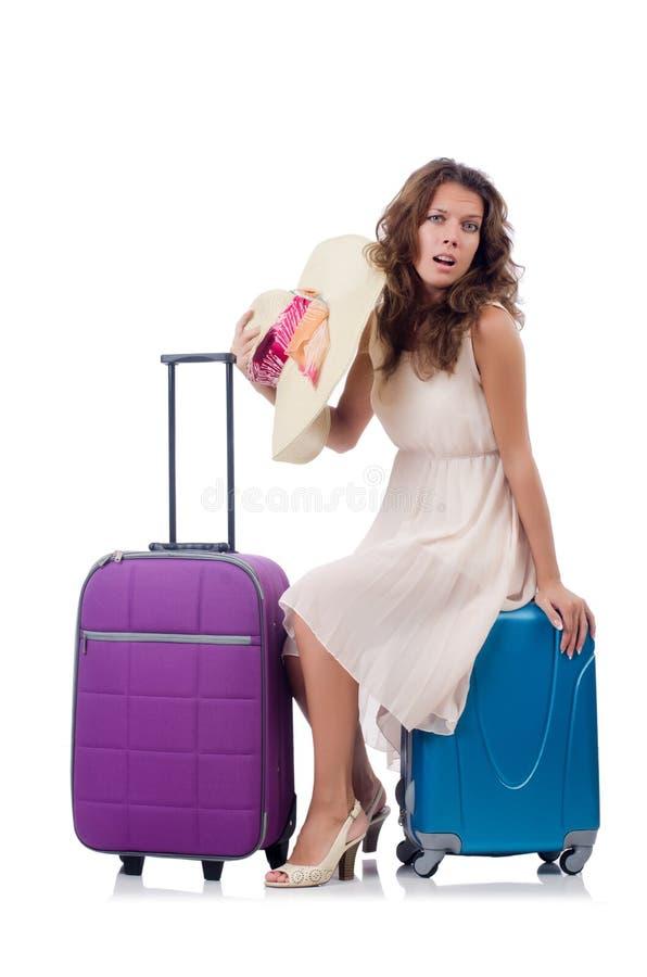Mulher com a bagagem isolada foto de stock royalty free