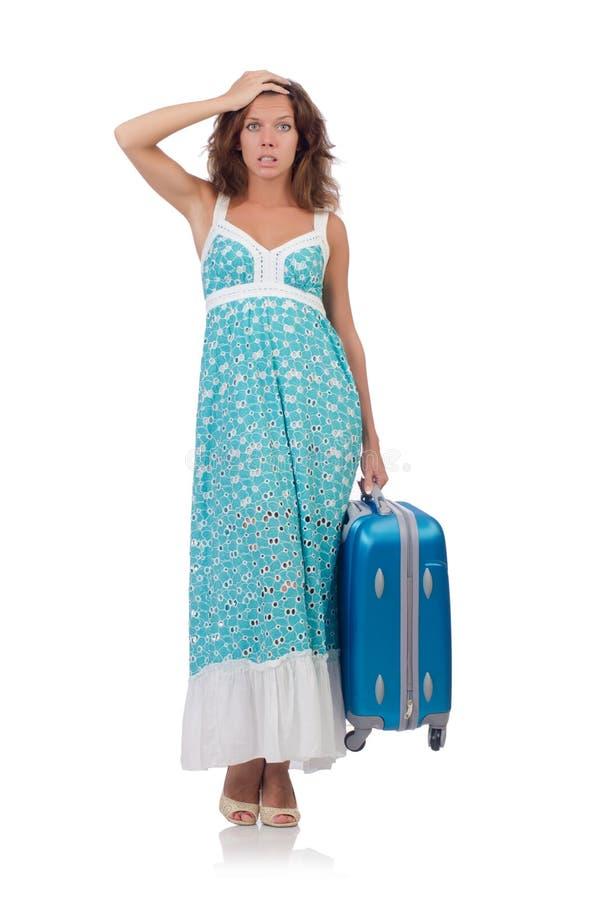 Mulher com a bagagem isolada fotografia de stock