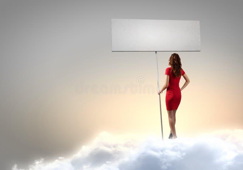 Mulher com bandeira imagem de stock