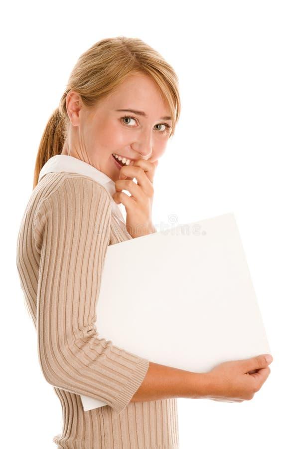 Mulher com bandeira em branco fotos de stock royalty free