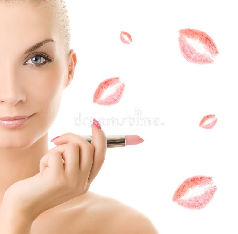 Mulher com batom cor-de-rosa imagens de stock