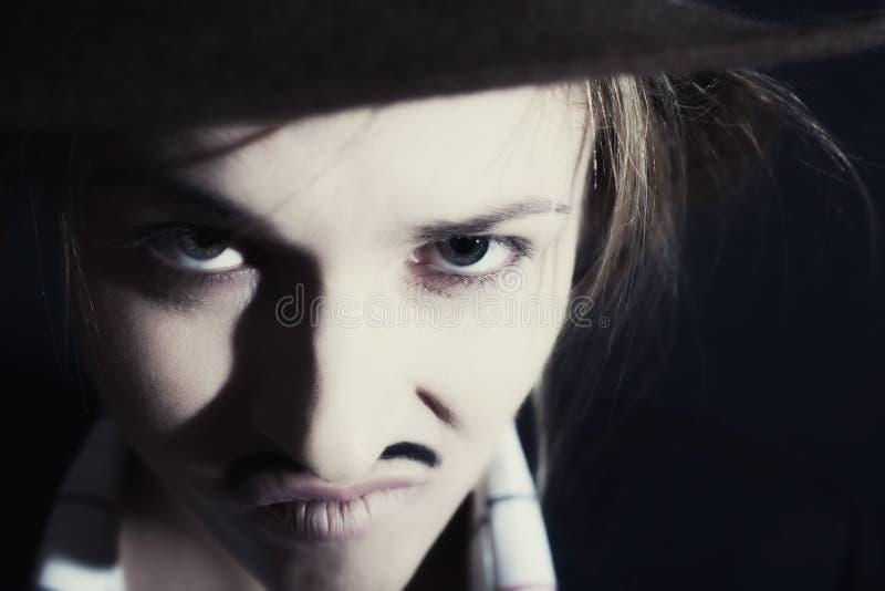 Mulher com bigode fotografia de stock