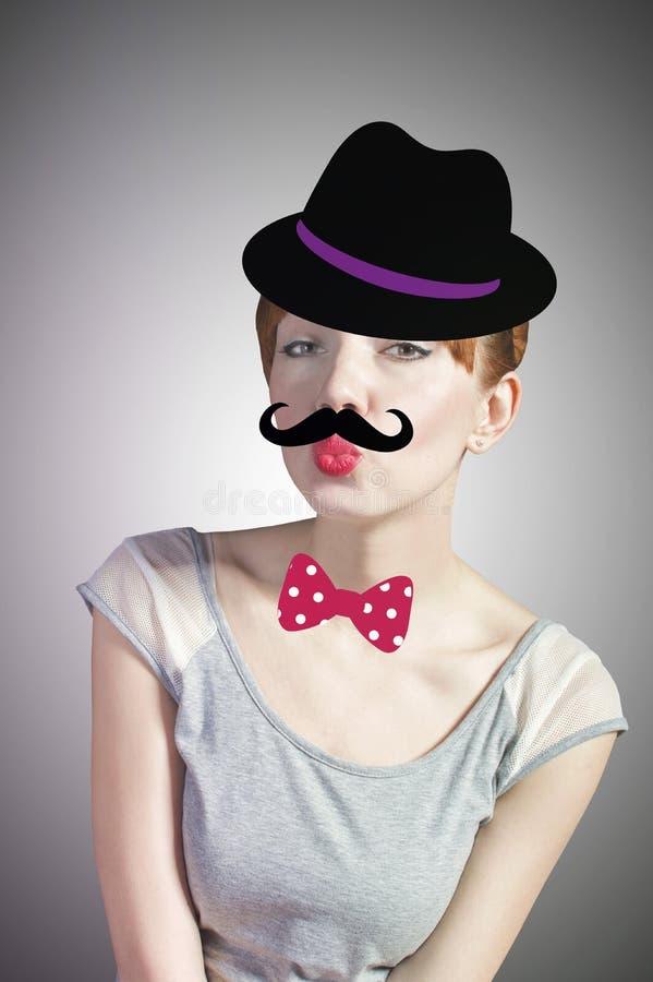 Mulher com bigode em um chapéu imagens de stock