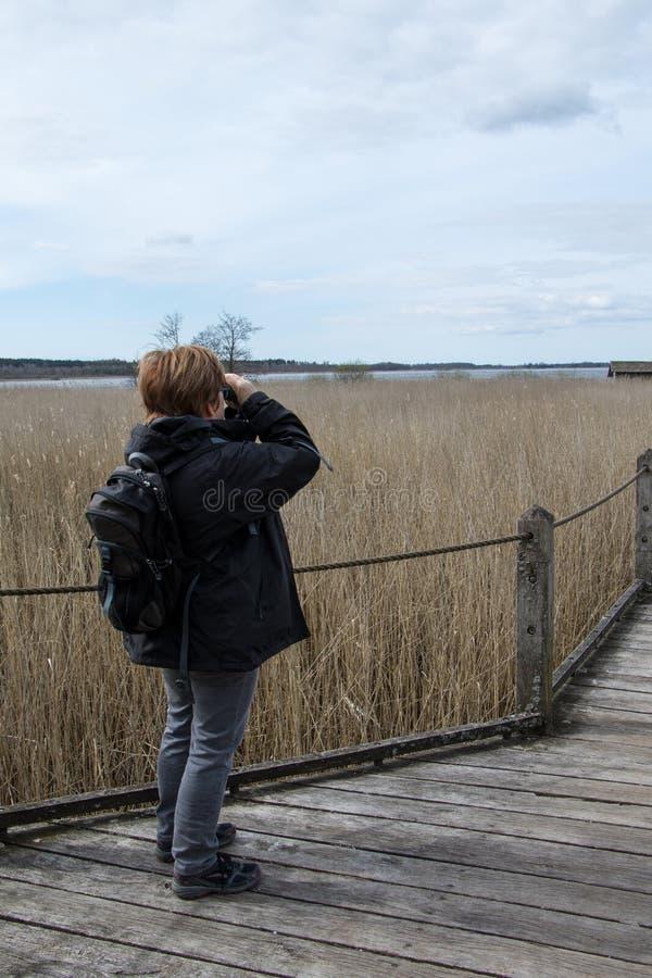 Mulher com 1 binocular fotos de stock royalty free