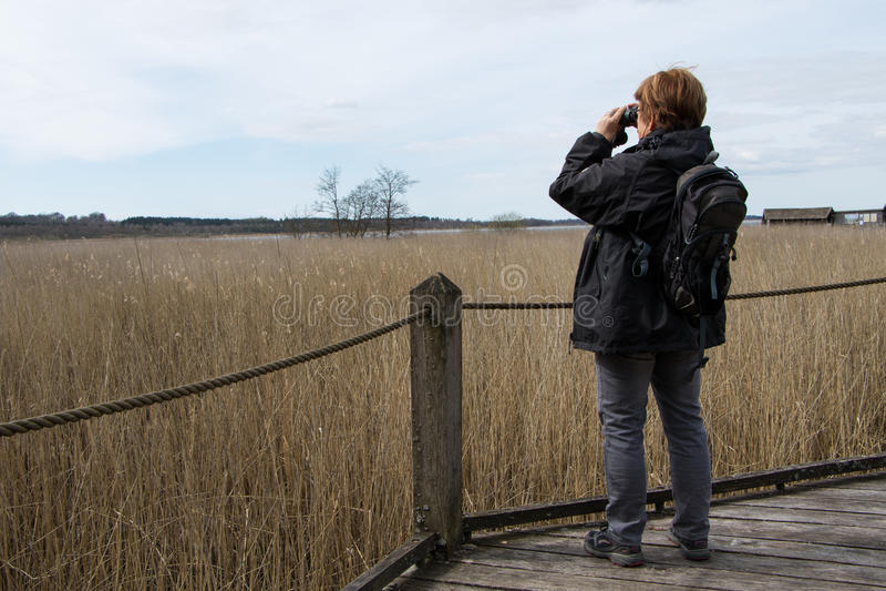 Mulher com 2 binoculares foto de stock