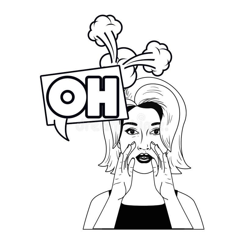 Mulher com bolha do discurso sobre c?mico ilustração stock