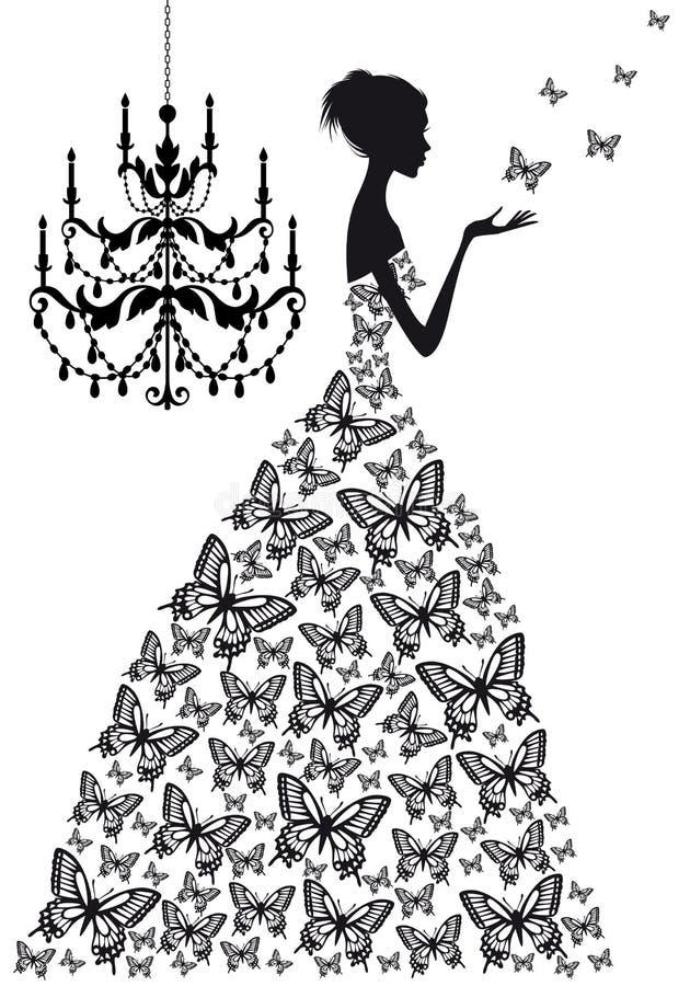 Mulher com borboletas,   ilustração do vetor