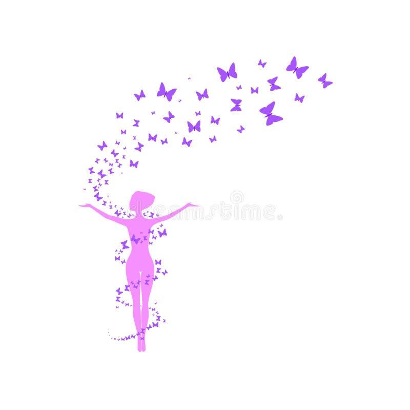 Mulher com borboletas do vôo foto de stock royalty free