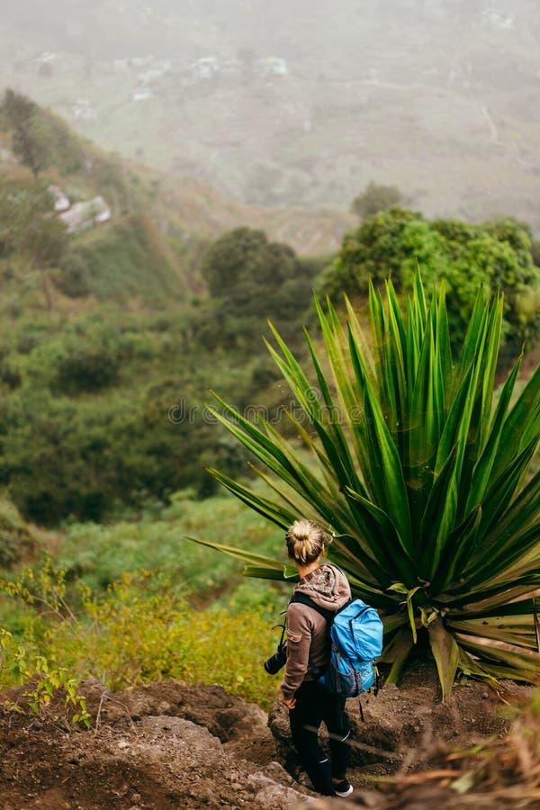 A mulher com câmera e a trouxa perto de uma planta enorme da agave com paisagem árida do lugar chamaram Corda no fundo foto de stock