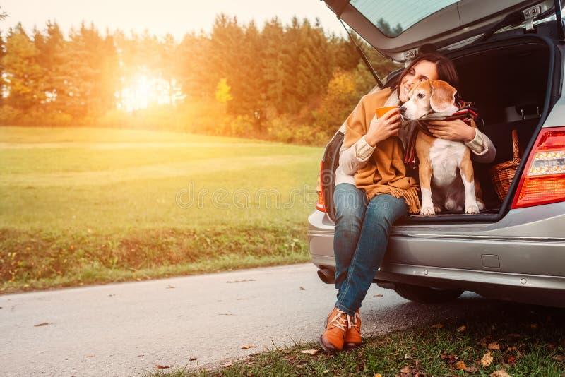 A mulher com cão senta-se no tronco de carro na estrada do outono fotos de stock