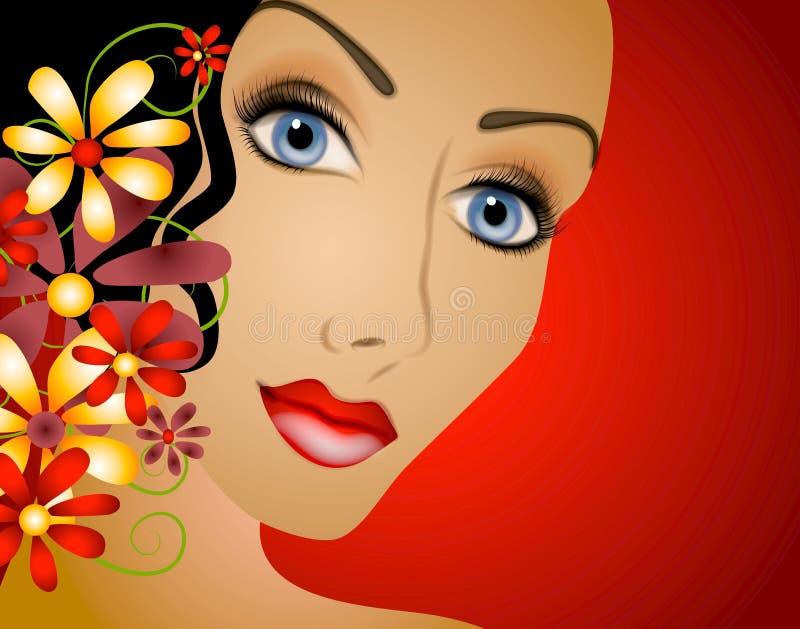 Mulher com cabelo 2 das flores ilustração stock