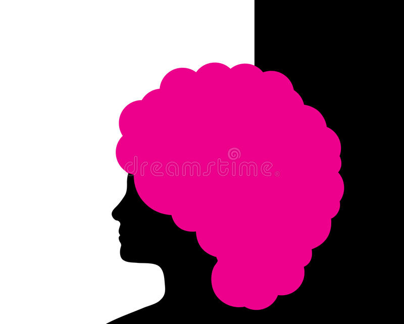 Mulher com cabelo cor-de-rosa ilustração royalty free