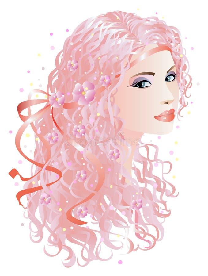 Mulher com cabelo cor-de-rosa ilustração stock