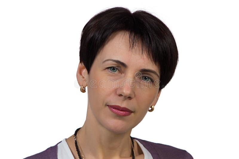 Mulher com cabelo curto imagens de stock