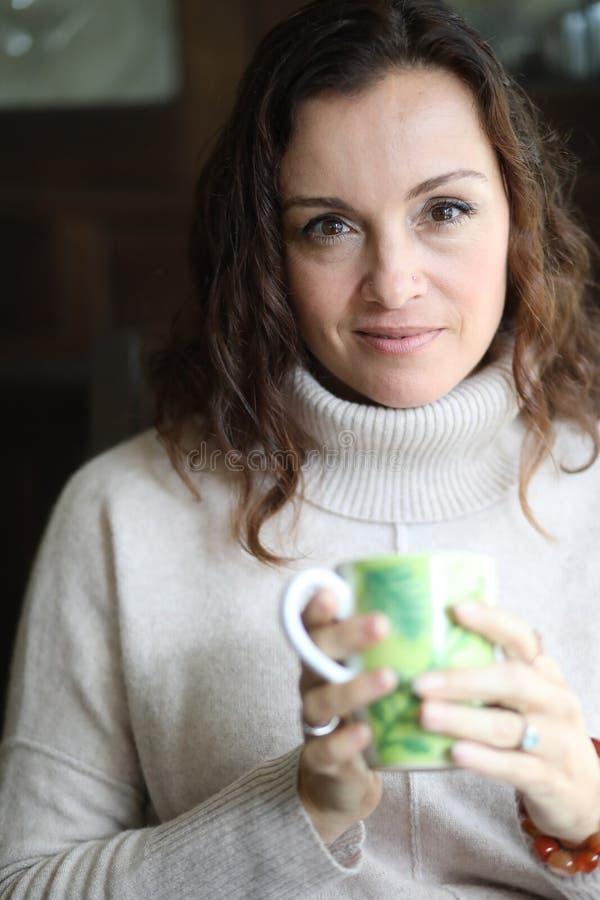 Mulher com cabelo de Brown e os olhos bonitos de Brown fotografia de stock royalty free