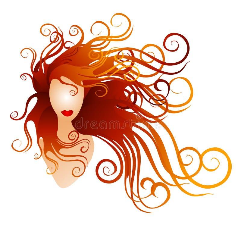 Mulher com cabelo de fluxo vermelho longo ilustração do vetor