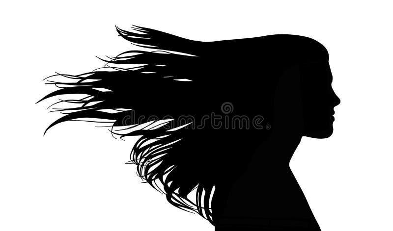 Mulher com cabelo longo do passo no vento ilustração royalty free