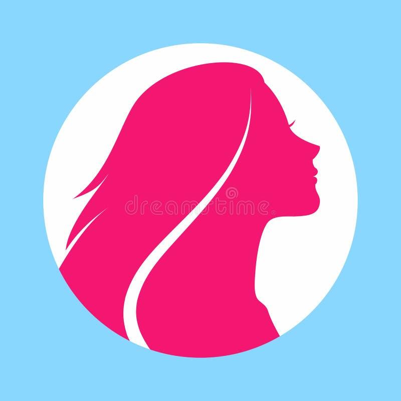 Mulher com cabelo longo Ilustração do vetor Projeto à moda para o inseto ou a bandeira do salão de beleza Silhueta da menina Cosm ilustração stock
