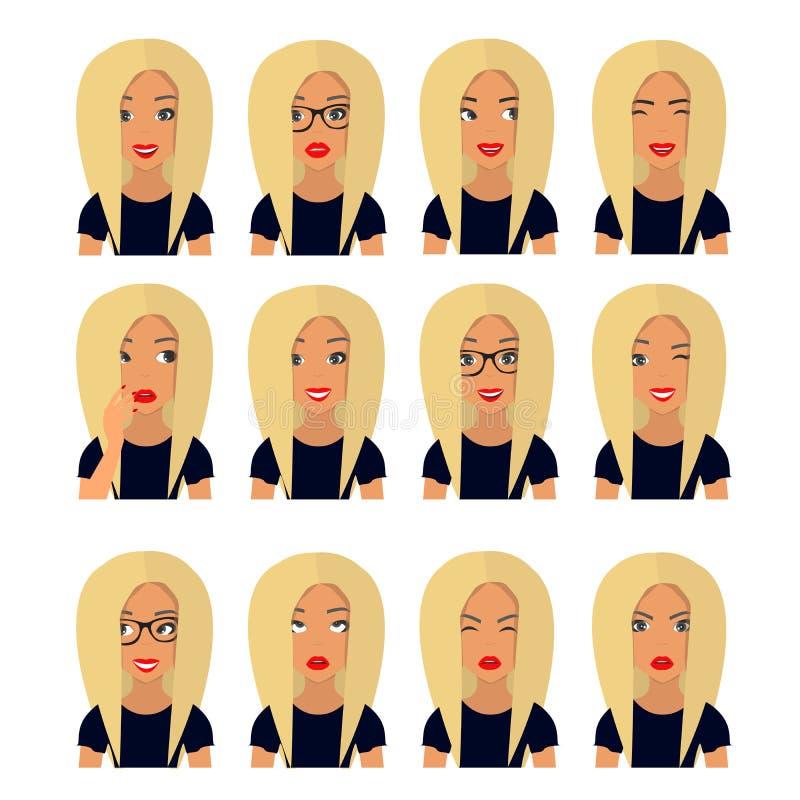 Mulher com cabelo louro e emoções Ícones do usuário Ilustração do vetor do Avatar ilustração stock