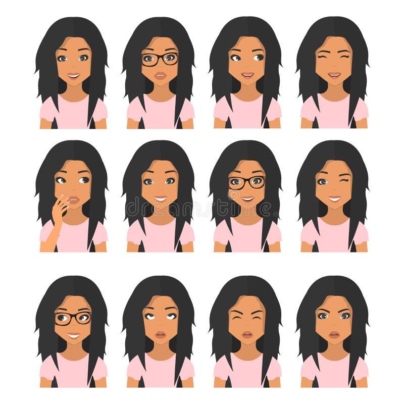 Mulher com cabelo marrom preto e emoções Ícones do usuário Ilustração do vetor do Avatar ilustração royalty free
