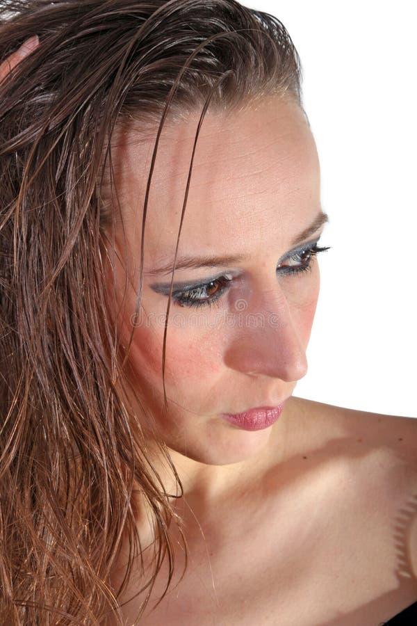 Mulher com cabelo molhado fotos de stock