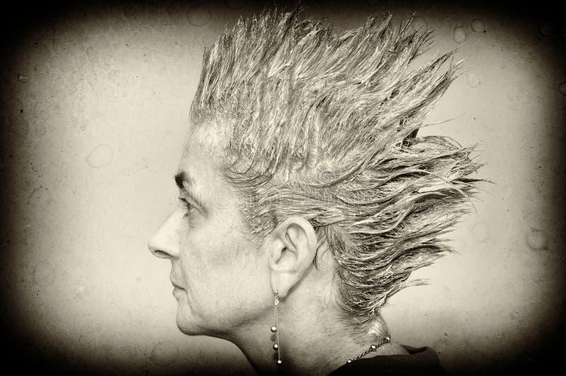 Mulher com cabelo pontudo foto de stock
