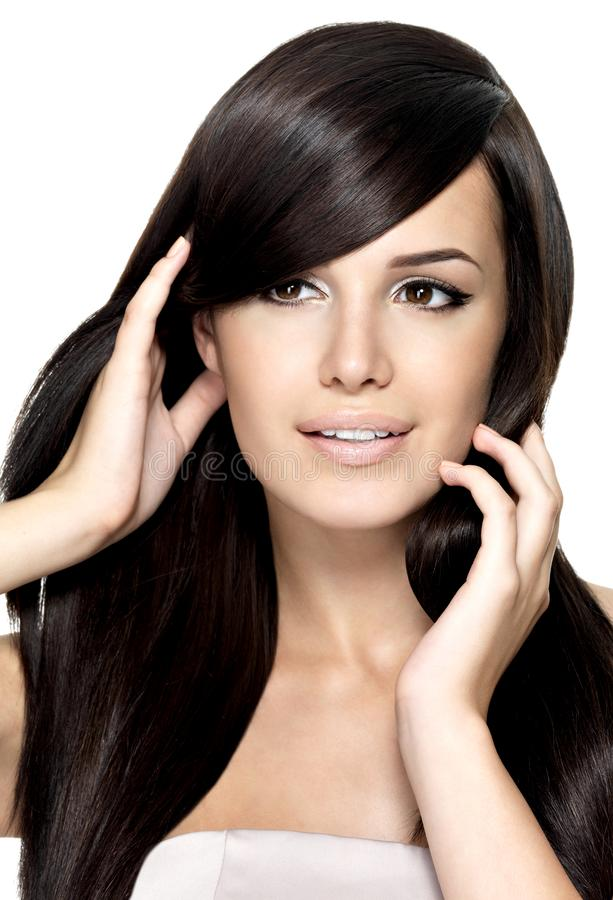 Mulher com cabelo reto longo da beleza fotografia de stock