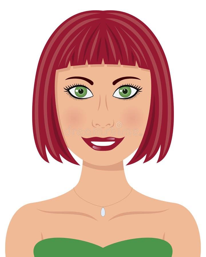 Mulher com cabelo vermelho e os olhos verdes ilustração do vetor