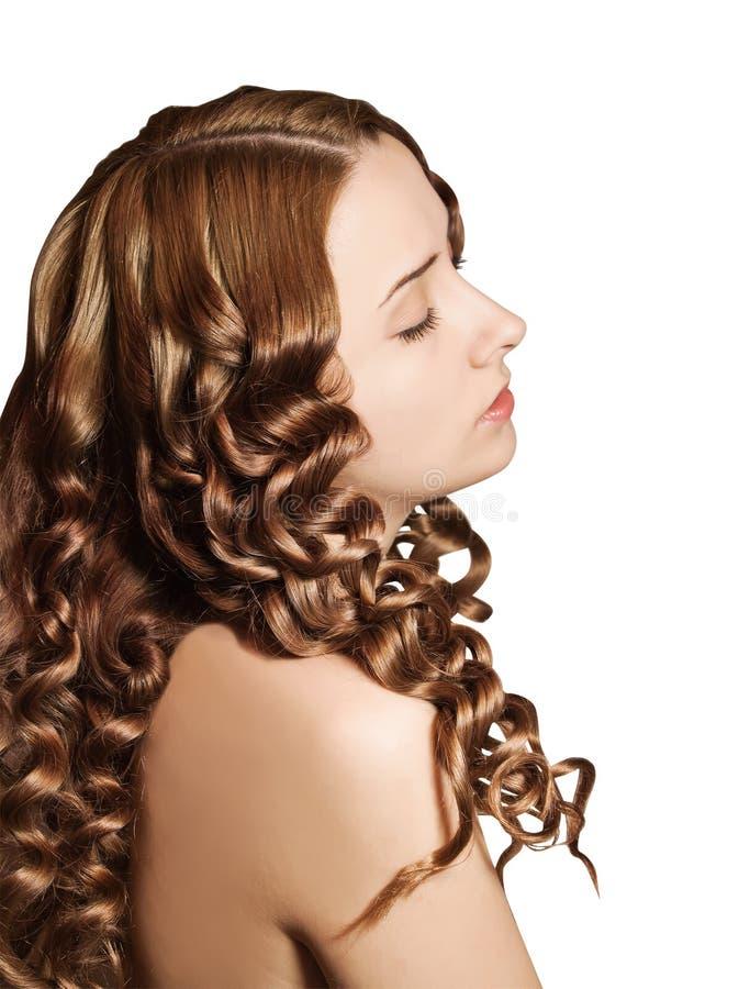 Mulher com cabelos curly imagens de stock royalty free