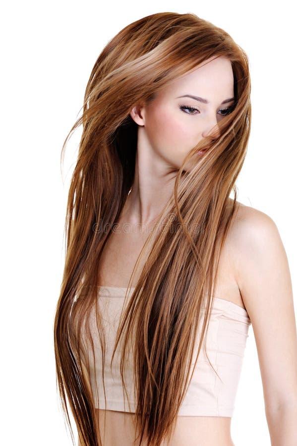 Mulher com cabelos retos longos da beleza fotografia de stock