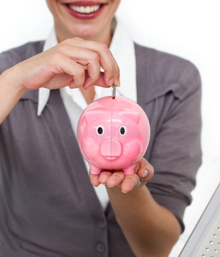 Mulher com caixa de dinheiro fotografia de stock