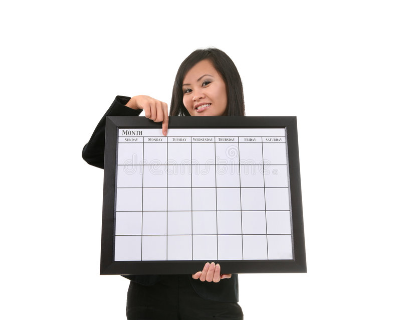 Mulher com calendário imagem de stock royalty free