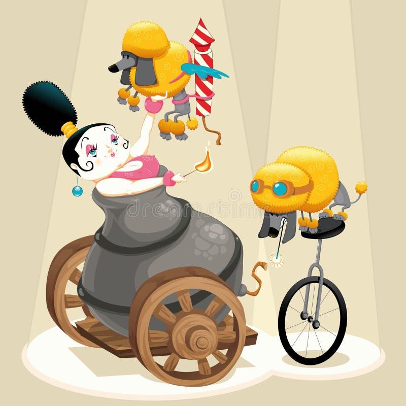 Mulher com canhão e dachshunds no circo ilustração royalty free