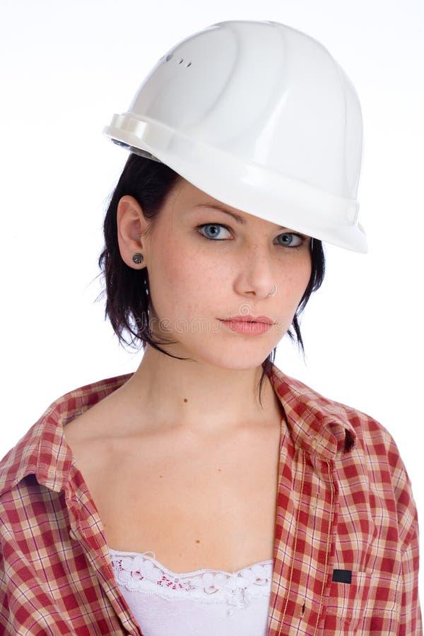 Mulher com capacete de segurança fotos de stock