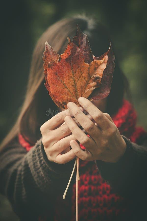 Mulher com a cara do couro cru da folha do outono exterior fotografia de stock