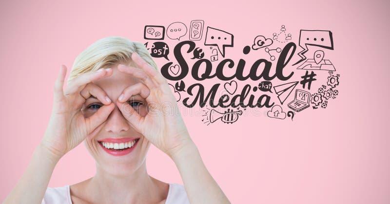 Mulher com cara engraçada e os desenhos de gráficos sociais dos meios ilustração do vetor