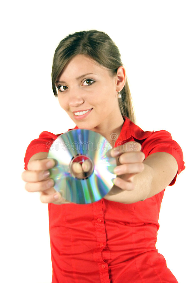 Mulher com CD ou DVD fotos de stock royalty free