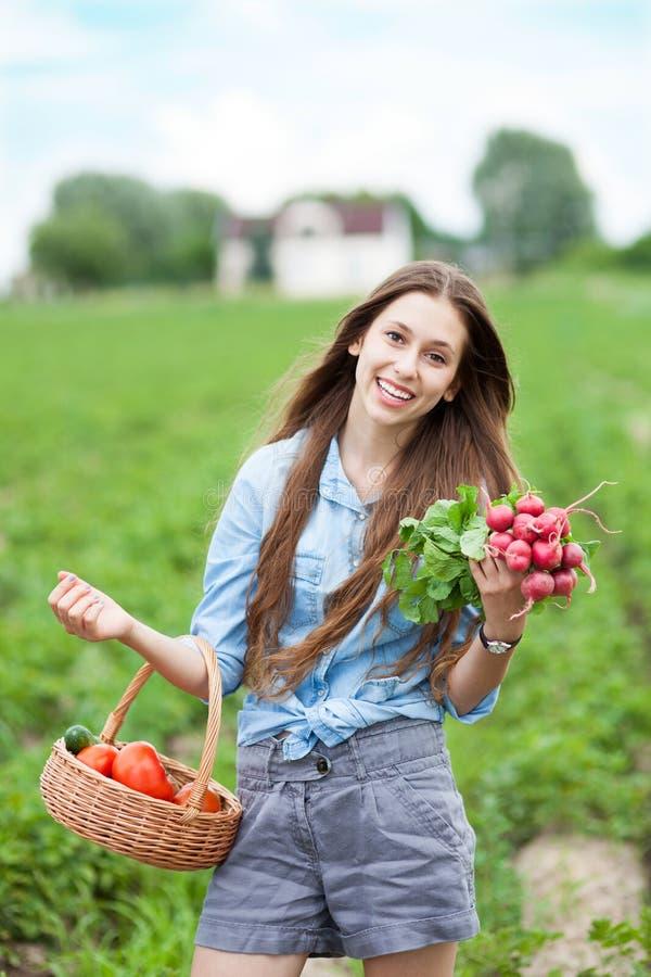 Mulher com a cesta de vegetais colhidos imagem de stock