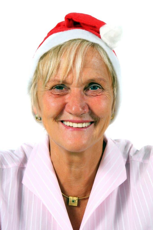Mulher com chapéu de Santa fotografia de stock royalty free