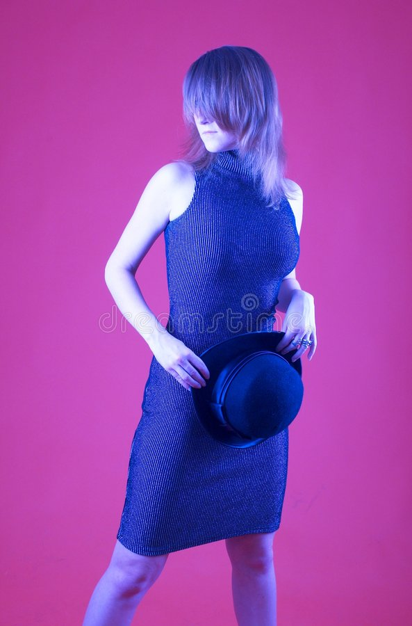 Mulher com chapéu do jogador - 2 fotografia de stock