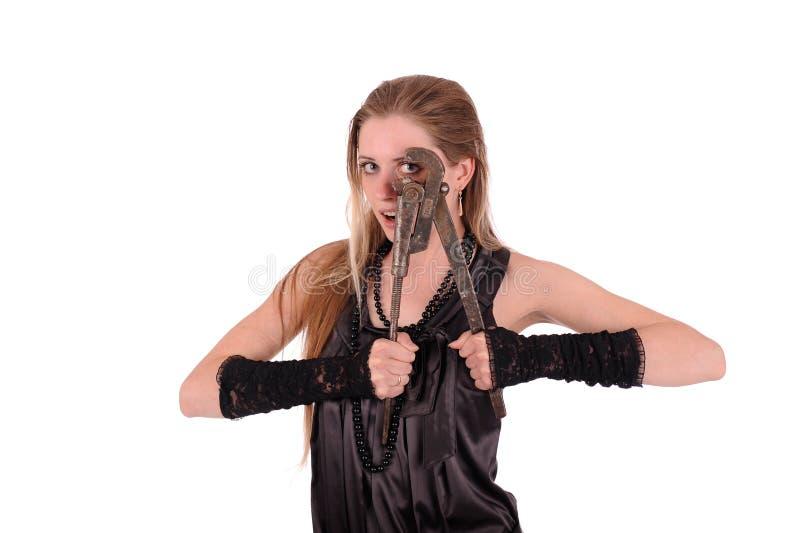 Mulher com chave inglesa foto de stock royalty free