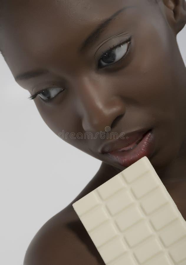 Mulher com chocolate fotos de stock