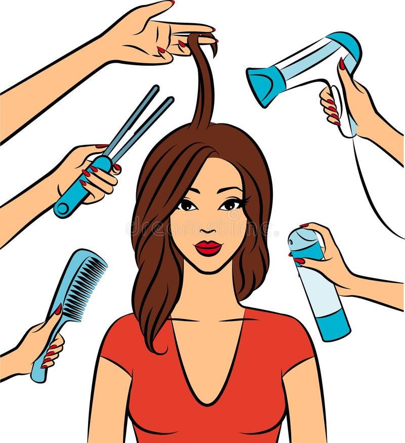 Mulher com coiffure no salão de beleza. ilustração stock