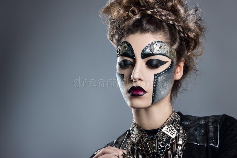 mulher com composição Steampunk imagens de stock