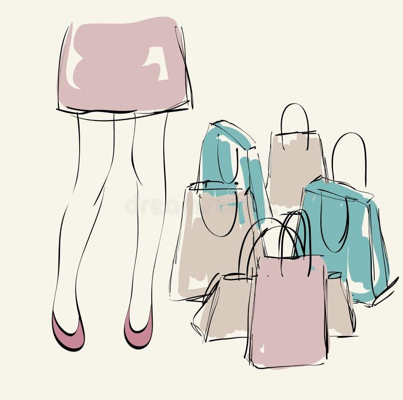 Mulher com compra ilustração stock