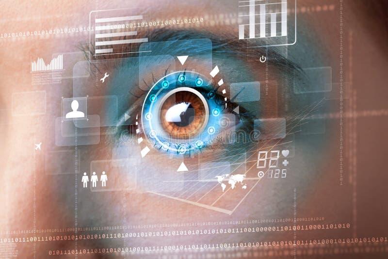 Mulher com conceito do painel do olho da tecnologia do cyber ilustração stock